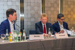 Ulf Meinke, Guido Kerkhoff und ThyssenKrupp-Sprecher Alexander Wilke (v.l.n.r.)